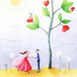 Cartes anniversaire - Fleurs et nuages